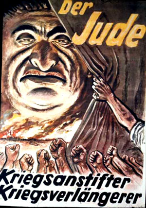 Nazi Cartoon Poster Hatred of Jews.