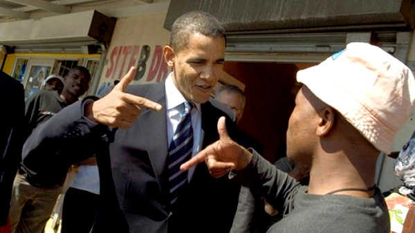 Obama uses Rap Artist B.o.B. as warm up for his speech in Madison, Wisconsin, B.o.B. using N***** in his lyrics among other choice role model words for America's black youth.