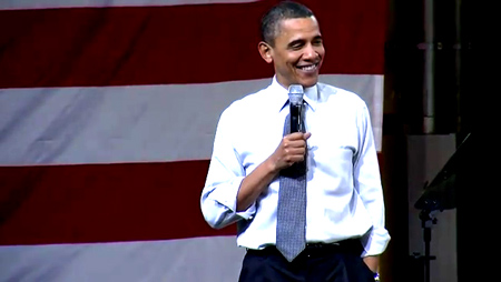 Obama almost giggles at American audience deeply worried about raising gas prices.