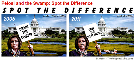 From the great artists at the People's Cube:  My how fast things change in Washington D.C., from draining the Republican's swamp to saving the Democrat's cess pool.   This artist has renamed the cess pool, the wetlands, as the Democrat's had renamed the illegal aliens as (cough) undocumented workers.  In the end it all smells the same.