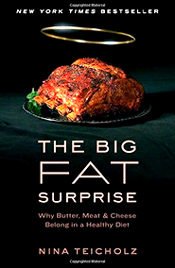 """A devastating new book.... [The Big Fat Surprise] shows that the low-fat craze was based on flimsy evidence. Nina Teicholz, an experienced journalist who spent eight years tracking down all the evidence for and against the advice to eat low-fat diets, finds that it was based on flimsy evidence, supported by an intolerant consensus backed by vested interests and amplified by a docile press."" (The Times of London) - Amazon"
