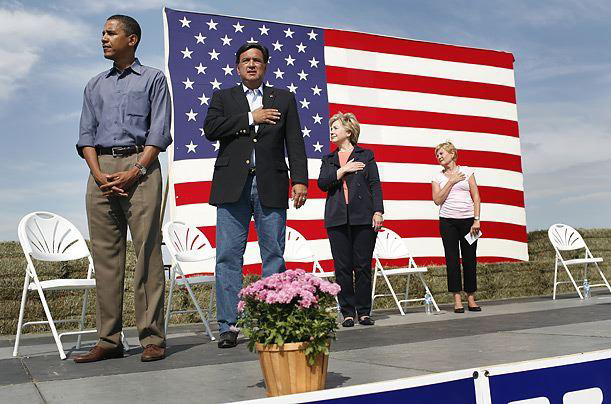 Demcrat candidates at a Steak Fry in Indianola, IA, during the playing of our National Anthem.
